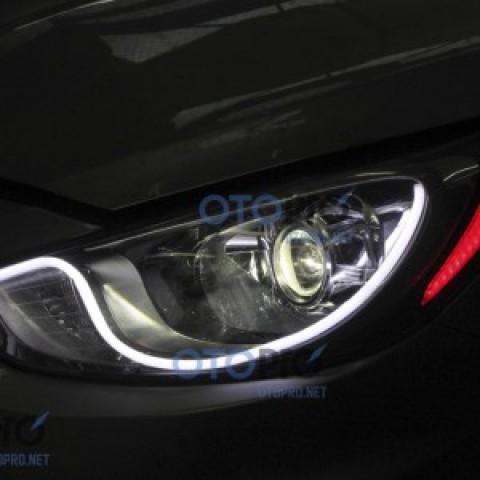Độ đèn bi xenon, dải LED mí khối trắng vàng cho xe Accent