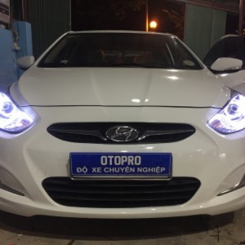Hyundai Accent 2011 độ bi Q5 led mí silicon, vòng angel, xenon gầm!