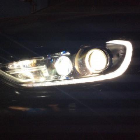 Hyundai Elantra 2016 độ bi hella5, bi domax bên pha, mắt quỷ đỏ