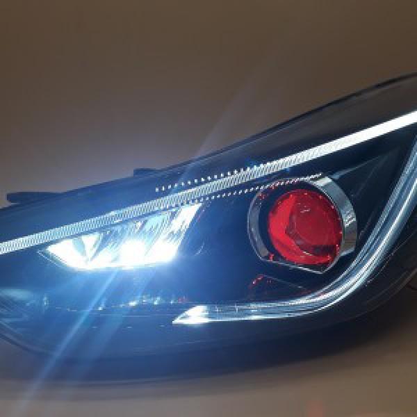 Đèn pha độ LED nguyên bộ xe Elantra 2014-2015 mẫu mắt quỷ