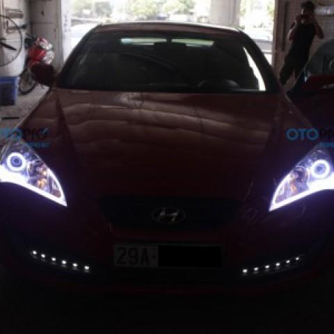 Độ LED mí khối Silicon trắng vàng, vòng Angle eye mẫu BMW cho Genesis
