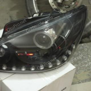 Độ đèn bi xenon, projector, dải LED mí oblock cho xe Getz