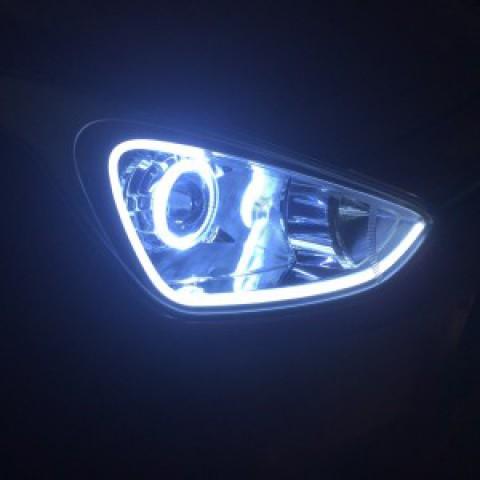 Độ bi Q5 OEM led mí vòng angel và  bi gầm Hyundai I10