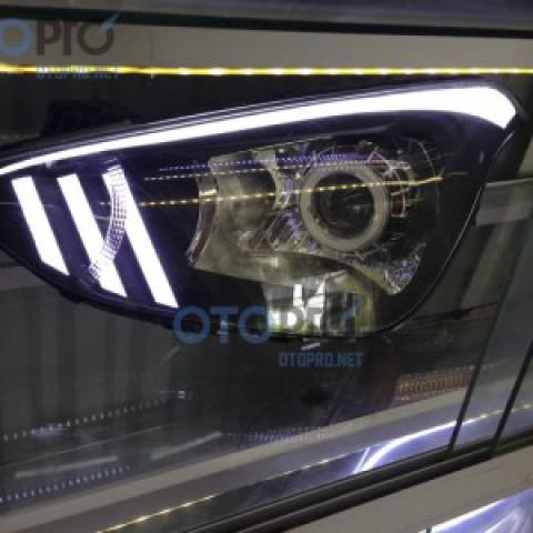 Độ đèn pha bi xenon, LED mí khối xe i10 mẫu Mustang