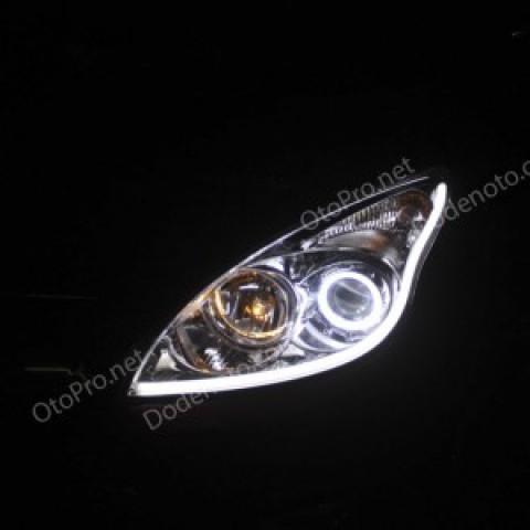 Độ angel eyes kiểu BMW, LED mí khối trắng vàng Hyundai I30