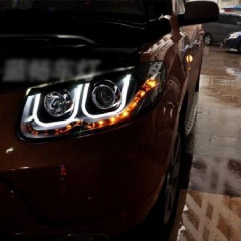 Đèn pha độ LED nguyên bộ xe Santafe 2006-2010 mẫu BMW chữ U