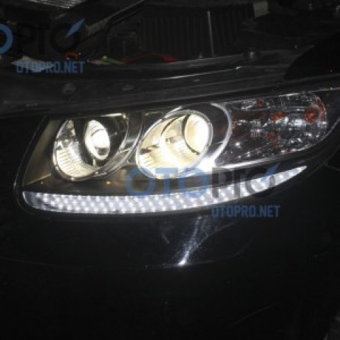 Độ bi xenon, dải LED daylight dạng hạt xe Santafe 2008