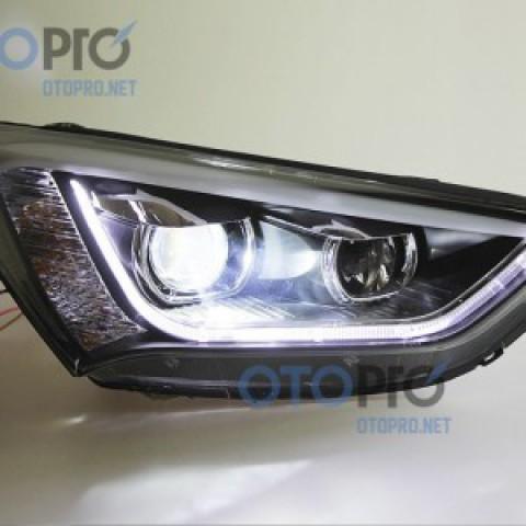 Đèn pha độ LED nguyên bộ cho xe Hyundai Santafe 2015 mẫu 2 bi