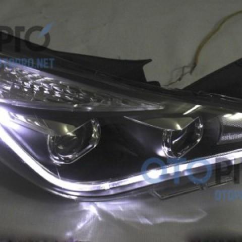 Đèn pha độ LED nguyên bộ cho xe Sonata 2011 mẫu 2 bi