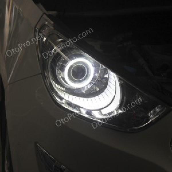 Độ đèn bi xenon, projector, vòng angel eyes cho xe Tucson