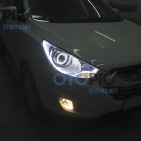 Độ đèn bi xenon, angel eyes, LED mí khối xe Tucson