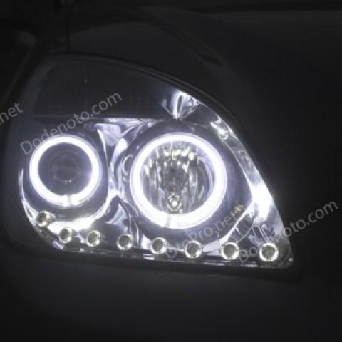 Độ đèn dải LED mí oblock, angel eyes kiểu BMW cho Carens