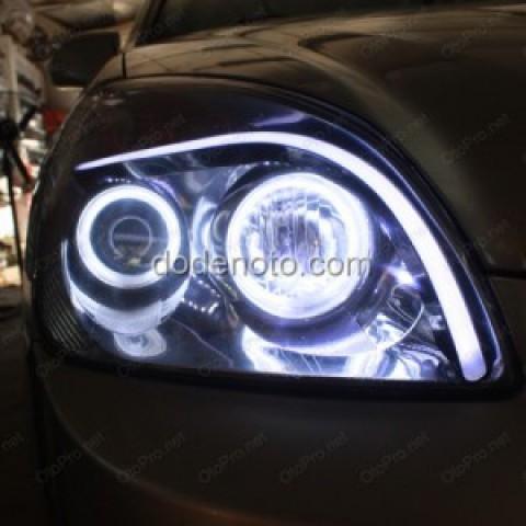 Độ tay LED khối, vòng Angle eyes mẫu BMW cho Kia Carens