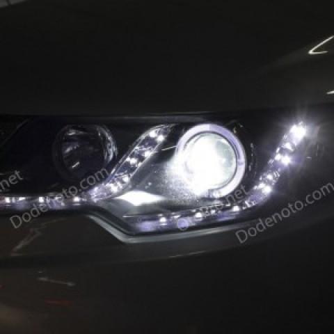Đèn pha độ LED nguyên bộ cho xe Kia Forte mẫu LED hạt
