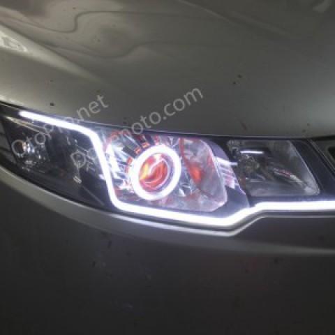 Độ đèn xenon, angel eyes, LED mí khối trắng vàng Kia Forte
