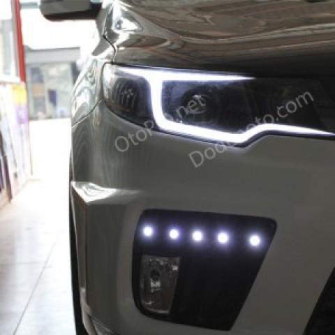 Độ đèn bi xenon Audi Q5, LED mí khối cho xe Forte Koup