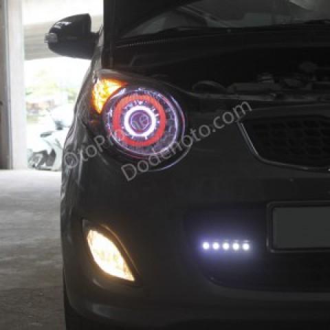 Độ đèn bi xenon, angel eyes, LED daylight cho Morning 2010