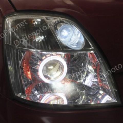 Độ đèn bi xenon, angel eyes LED cho Kia Morning 2005