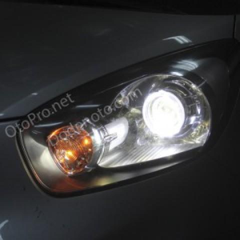 Độ đèn bi xenon, angel eyes LED kiểu BMW cho xe Morning 2012