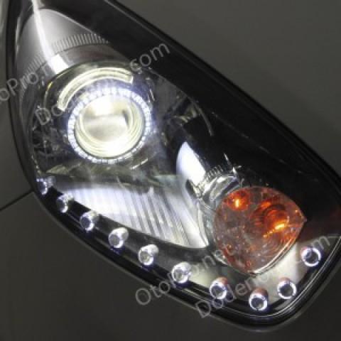 Độ đèn bi xenon, angel eyes, LED mí oblock xe Morning 2012