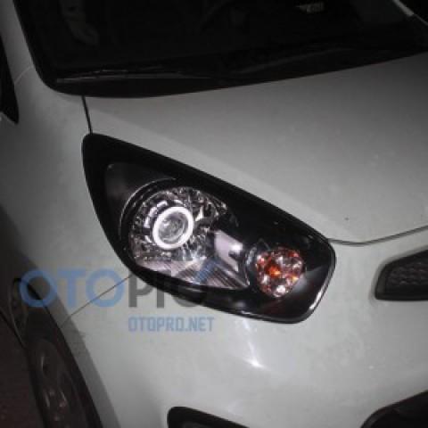 Độ đèn bi xenon, angel eyes LED khối xe Morning van