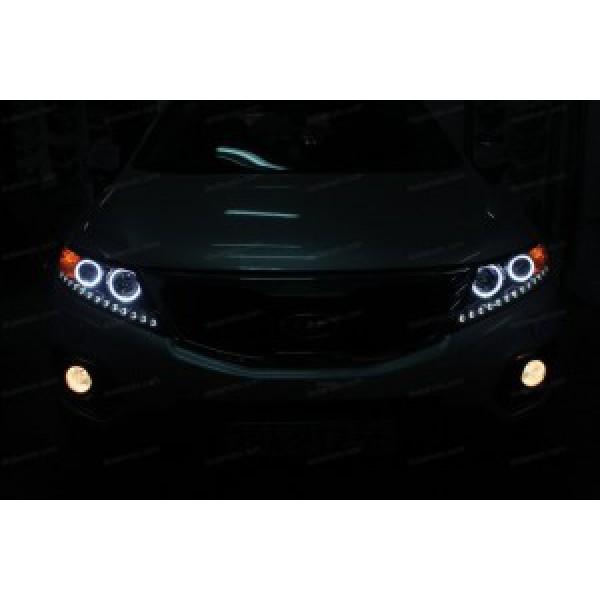 Độ vòng Angel Eyes, dải LED mí Oblock cho xe Sorento
