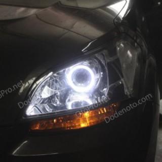 Độ đèn bi xenon, angel eyes kiểu BMW cho xe Kia Soul