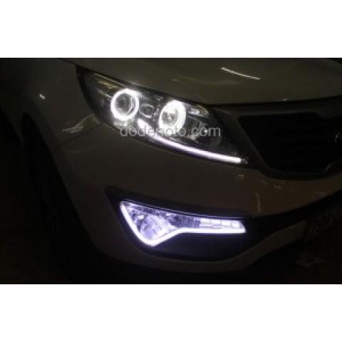 Độ vòng Angel Eyes BMW, dải LED mí khối trắng vàng đèn gầm Kia Sportage