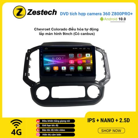 Màn hình DVD Zestech tích hợp Cam 360 Z800 Pro+ Chevrolet Colorado điều hòa tự động