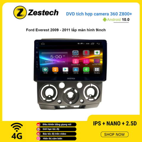 Màn hình DVD Zestech tích hợp Cam 360 Z800+ Ford Everest 2009 – 2011