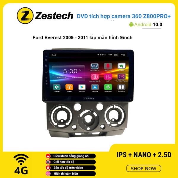 Màn hình DVD Zestech tích hợp Cam 360 Z800 Pro+ Ford Everest 2009 – 2011