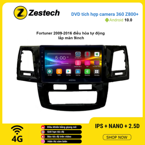 Màn hình DVD Zestech tích hợp Cam 360 Z800+ Toyota Fortuner 2009 – 2016