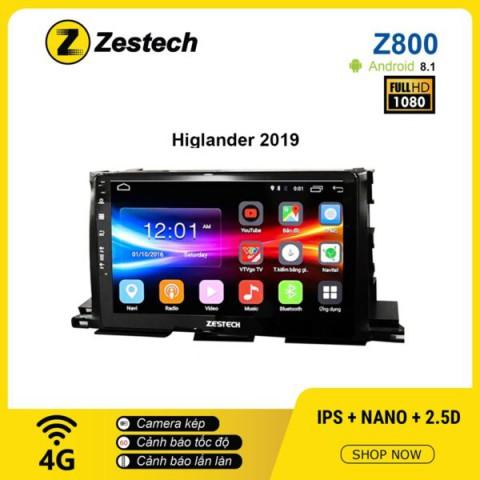 Màn hình ô tô DVD Android Z800 – Toyota Highlander 2019