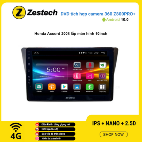 Màn hình DVD Zestech tích hợp Cam 360 Z800 Pro+ Honda Accord 2008