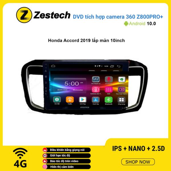 Màn hình DVD Zestech tích hợp Cam 360 Z800+ Honda Accord 2019