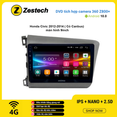 Màn hình DVD Zestech tích hợp Cam 360 Z800+ Honda Civic 2012 -2014