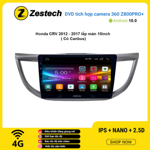 Màn hình DVD Zestech tích hợp Cam 360 Z800 Pro+ Honda CRV 2012 – 2017