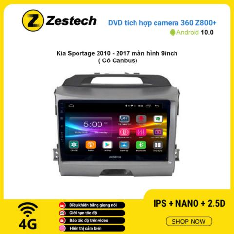Màn hình DVD Zestech tích hợp Cam 360 Z800+ Kia Sportage 2010 – 2017