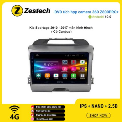 Màn hình DVD Zestech tích hợp Cam 360 Z800 Pro+ Kia Sportage 2010 – 2017