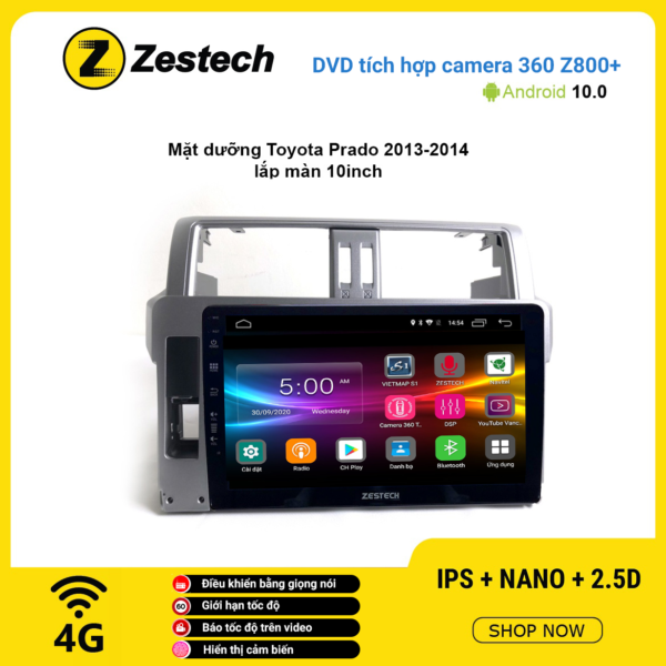 Màn hình DVD Zestech tích hợp Cam 360 Z800+ Toyota Prado 2013 – 2014