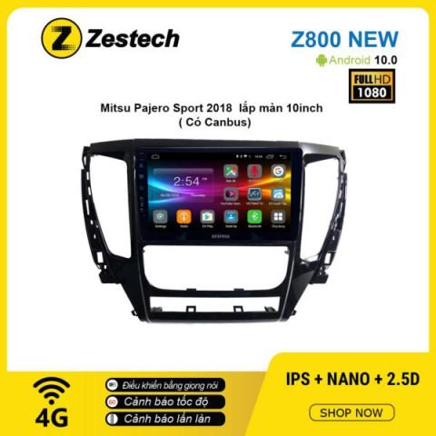 Màn hình ô tô DVD Android Z800 New – Mitsubishi Pajero Sport 2018 lắp màn 10inch