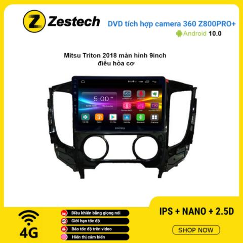 Màn hình DVD Zestech tích hợp Cam 360 Z800 Pro+ Mitsubishi Triton 2018 điều hòa cơ