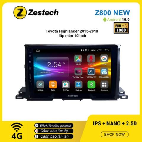 Màn hình ô tô DVD Android Z800 New – Toyota Highlander 2015 – 2018