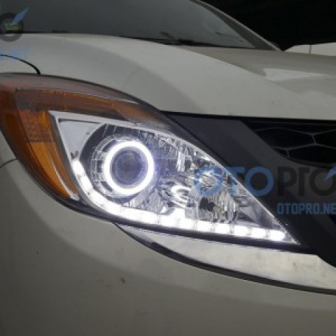 Mazda BT50 2015 độ đèn bi xenon, angel eyes, LED mí chạy