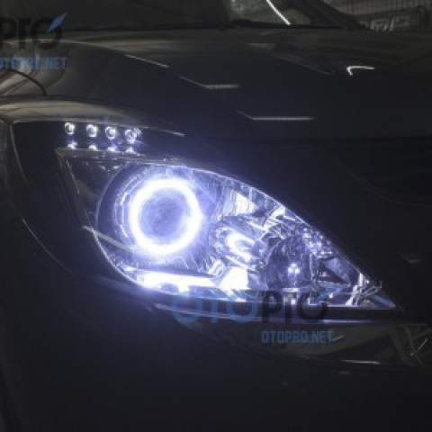 Mazda BT50 độ đèn pha bi xenon, angel eyes LED, mí oblock
