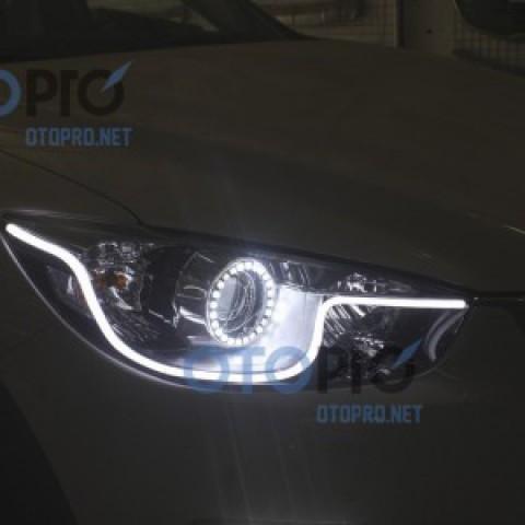 Độ angel eyes LED chóa lens, LED mí khối xe Mazda CX5