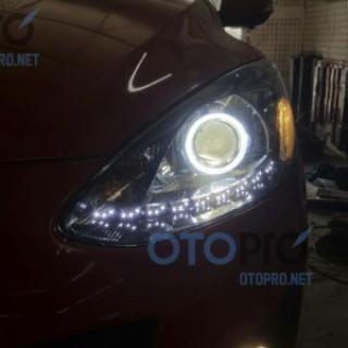 Mazda 2 2012 độ bi xenon, angel eyes, LED mí Transformer