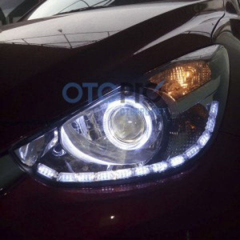 Mazda 2 2015 độ bi xenon, angel eyes, LED mí thủy tinh