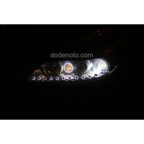 Độ dải LED mí oblock, angel eyes chóa LED cho Mazda 6