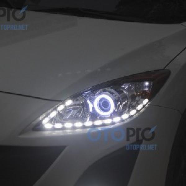 Độ dải LED mí khối thuỷ tinh, angel eyes khối Mazda 3 2011